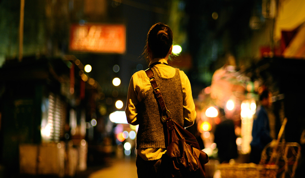 Woman walking in the night